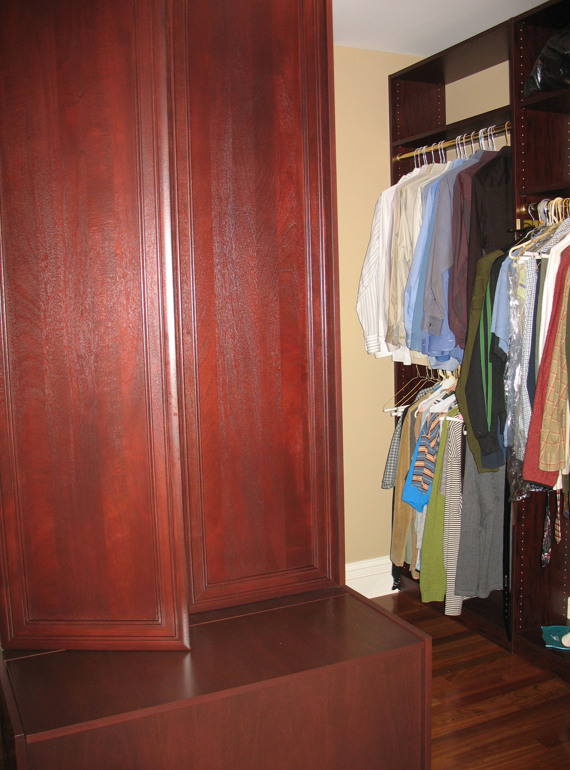 wood and melamine closet
