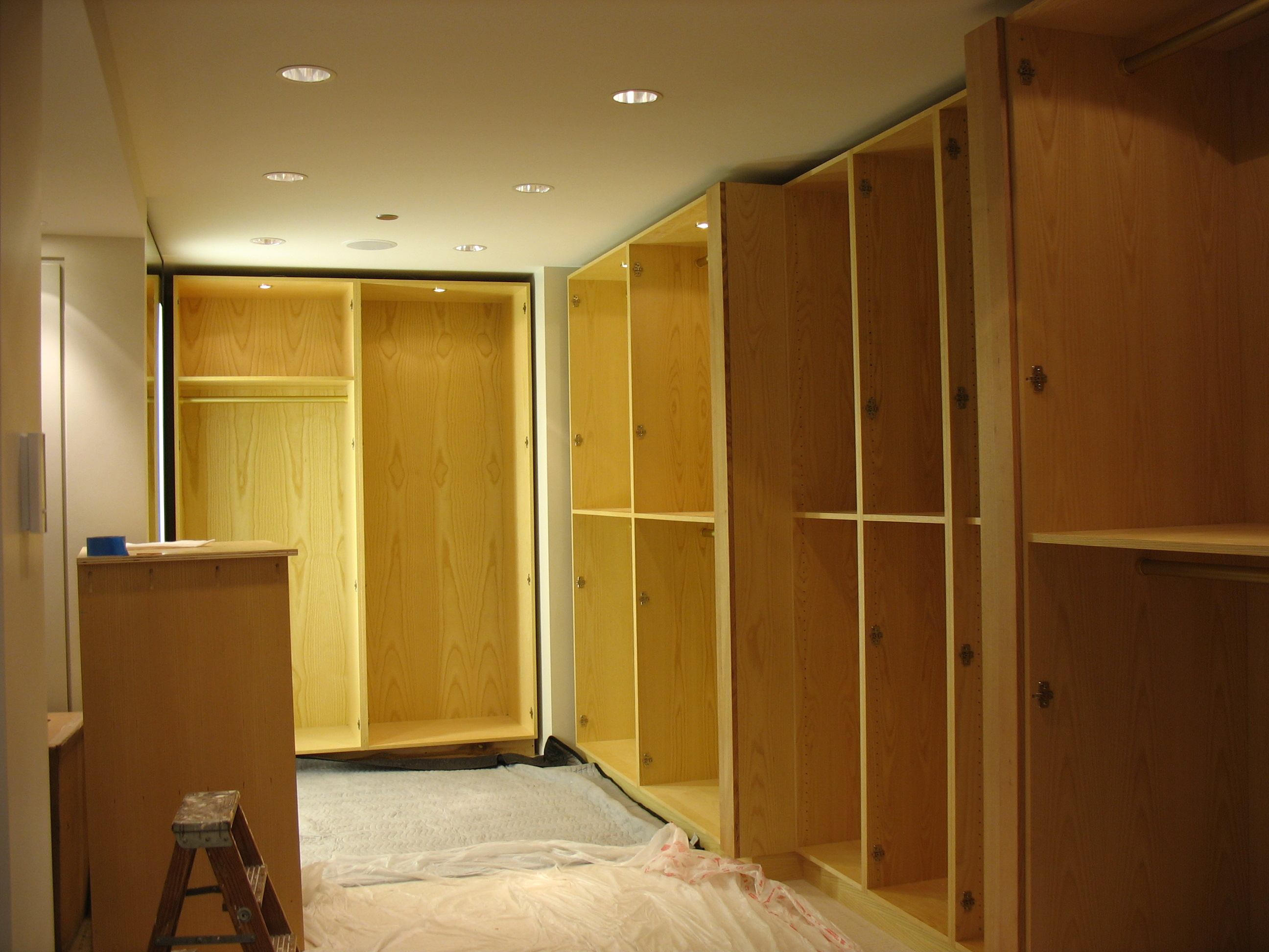 Wood walk in closet